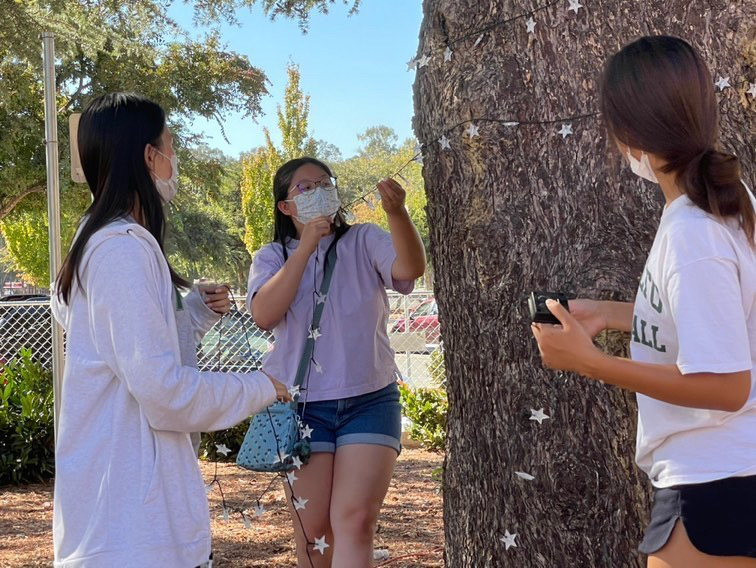 In preparation for the Homecoming dance, Associated Student Body President and junior Johannah Seah hangs lights around a tree on campus.